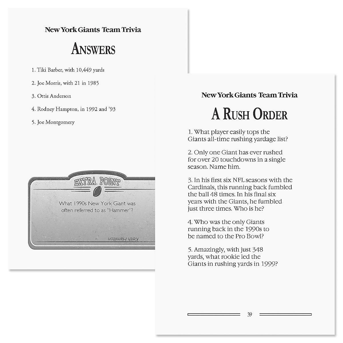 New York Giants NFL Team Trivia Book