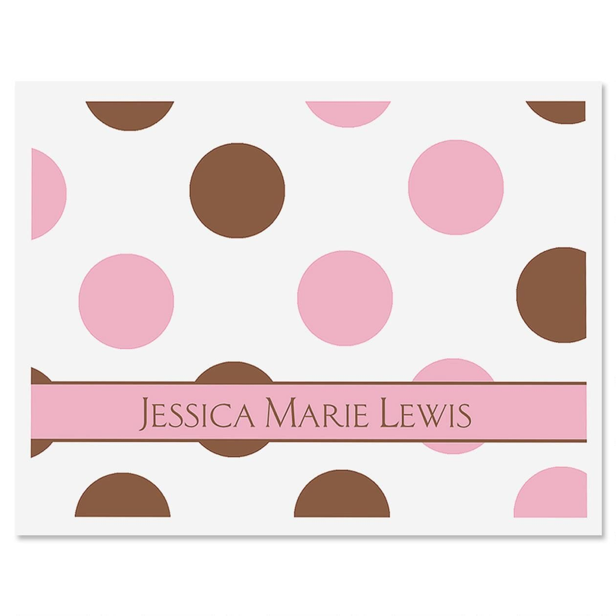 Pink & Brown Polka Dots Personalized Note Cards Set