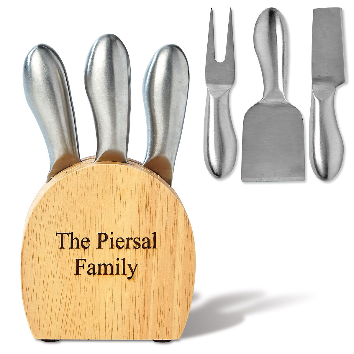 Personalized Wooden Cheese Block & Utensils