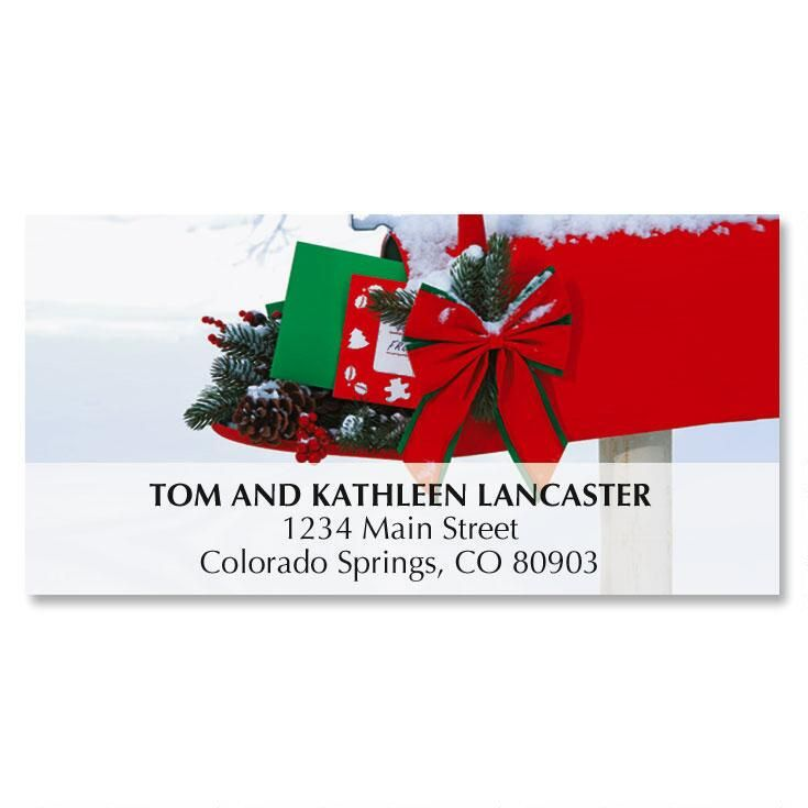 Country Mailbox Christmas Deluxe Address Labels