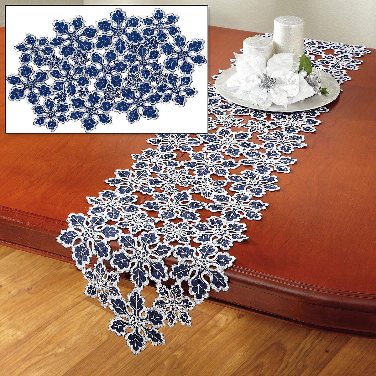 Blue & Silver Snowflakes Table Runner and Placemats