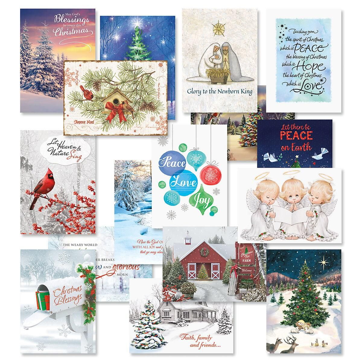 Faith Christmas Card Value Packs - Set of 64