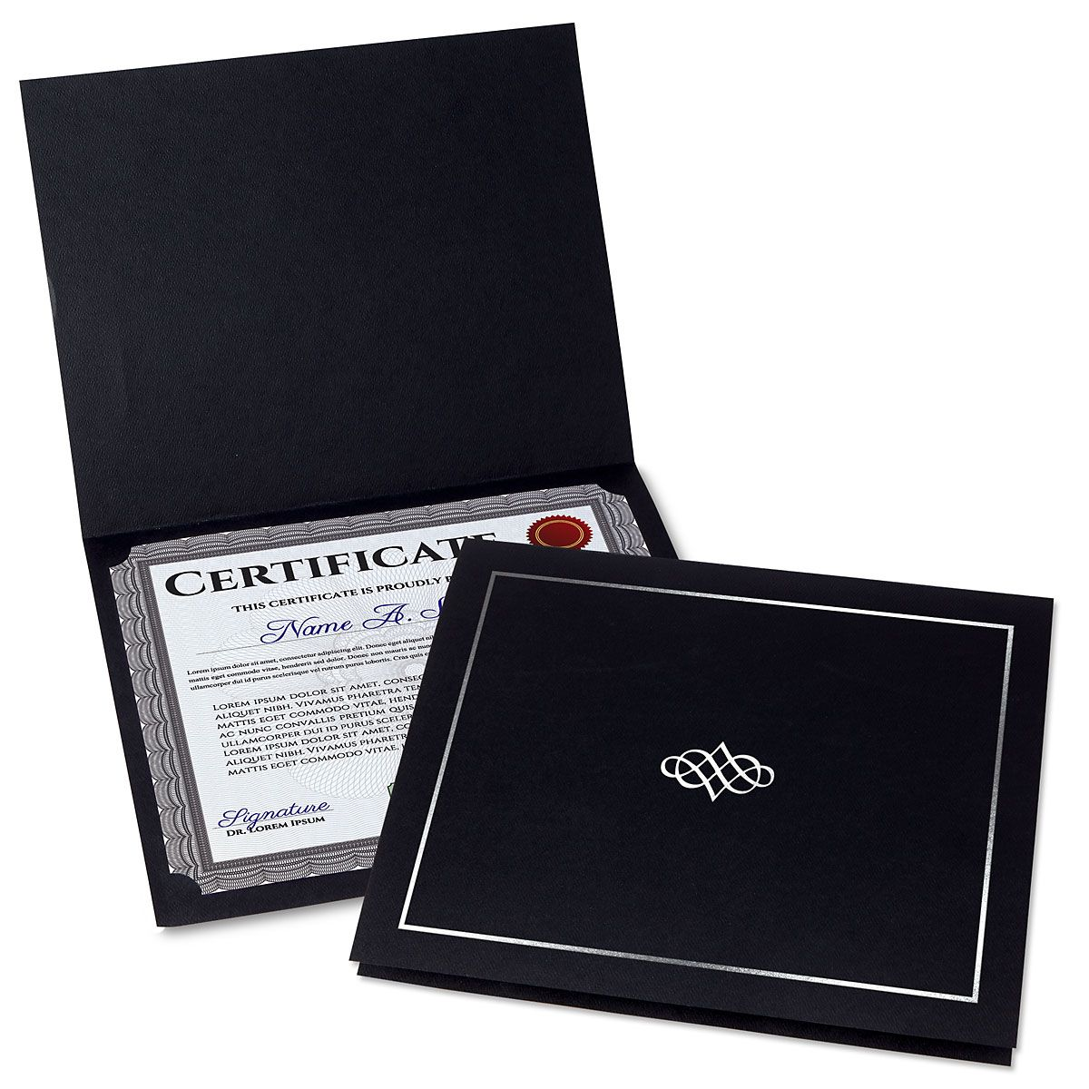 Ornate Black Certificate Folder with Silver Border/Crest