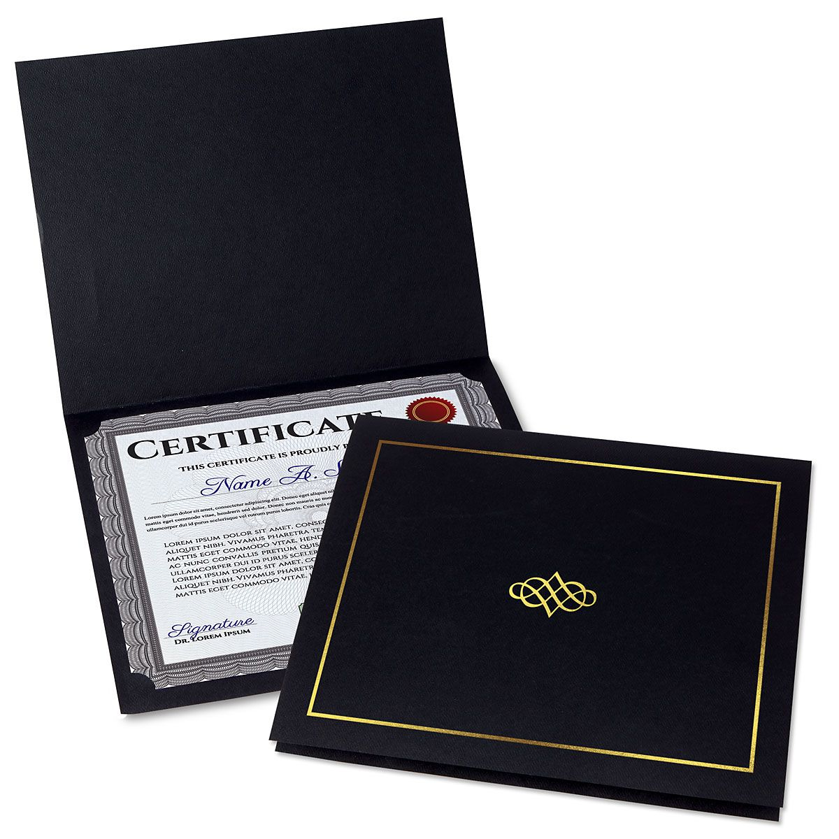 Ornate Black Certificate Folder with Gold Border/Crest - Set of 50