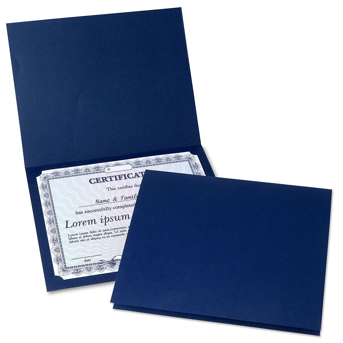 Plain Blue Certificate Folder - Set of 50