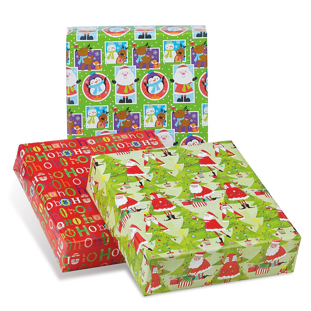 Santa Collection Classic Size Rolled Christmas Wrapping Paper Set