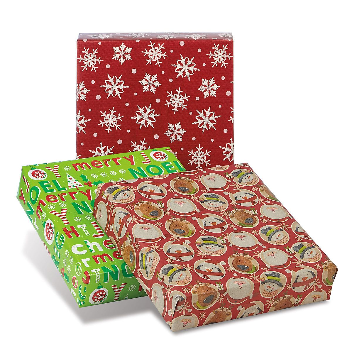Retro Collection Jumbo Rolled Christmas Wrapping Paper Set