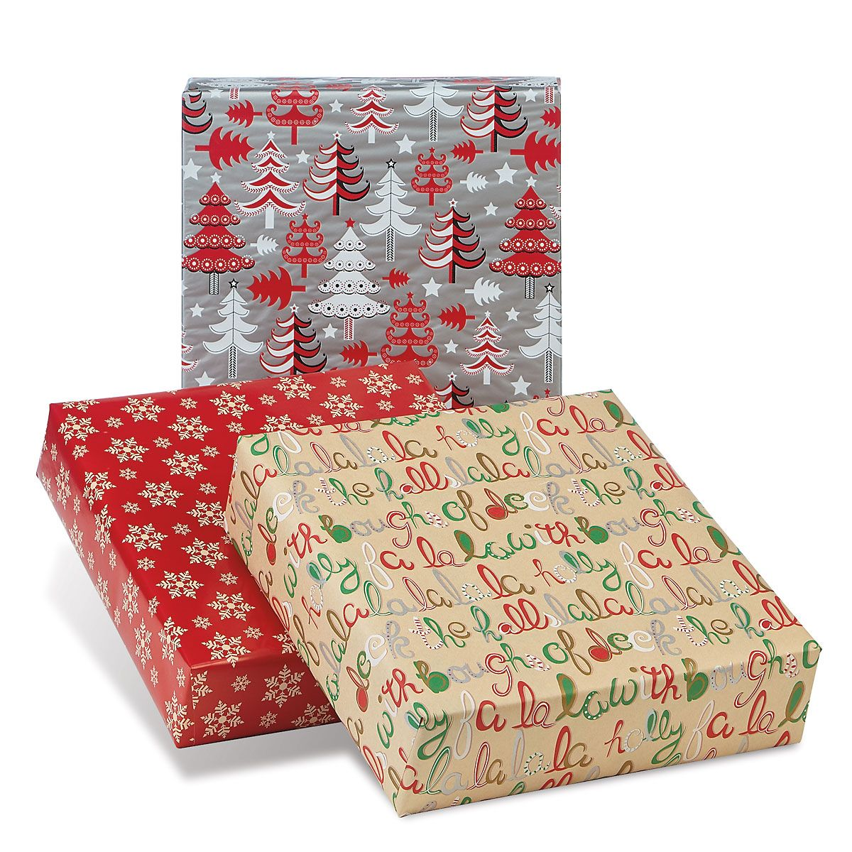 Festive Collection Jumbo Rolled Christmas Wrapping Paper Set