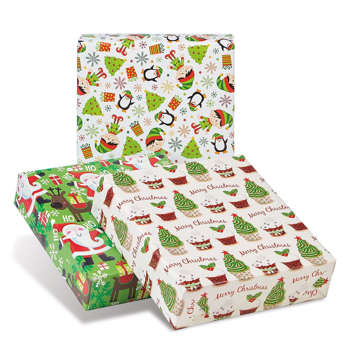 Green Collection Jumbo Rolled Christmas Wrapping Paper Set