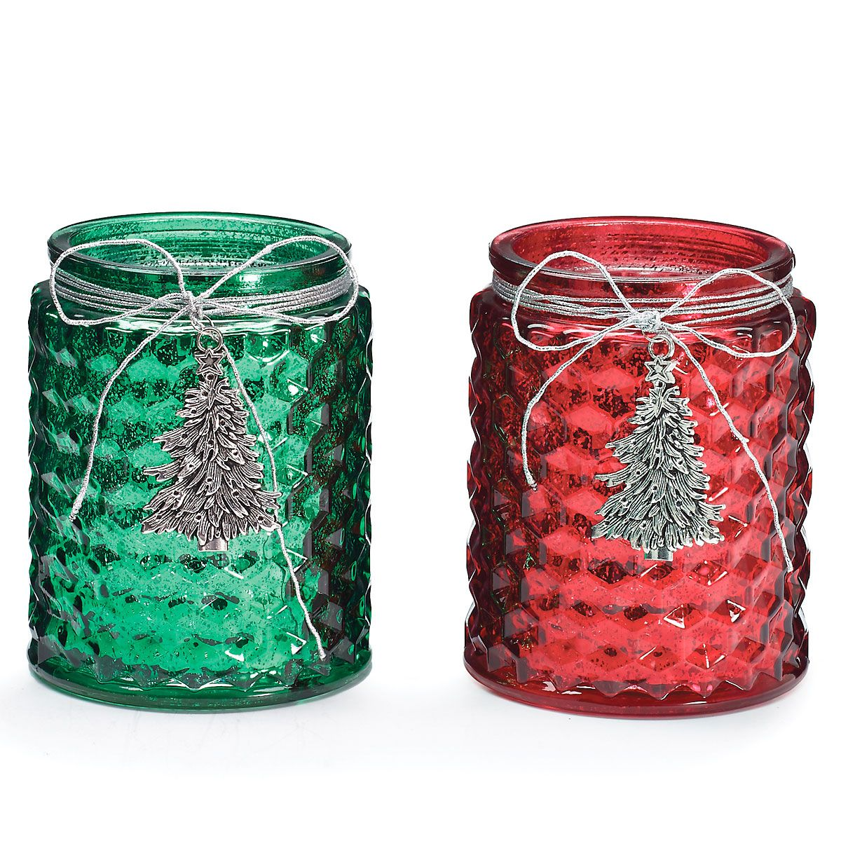 Glass Christmas Tree Candle Holders