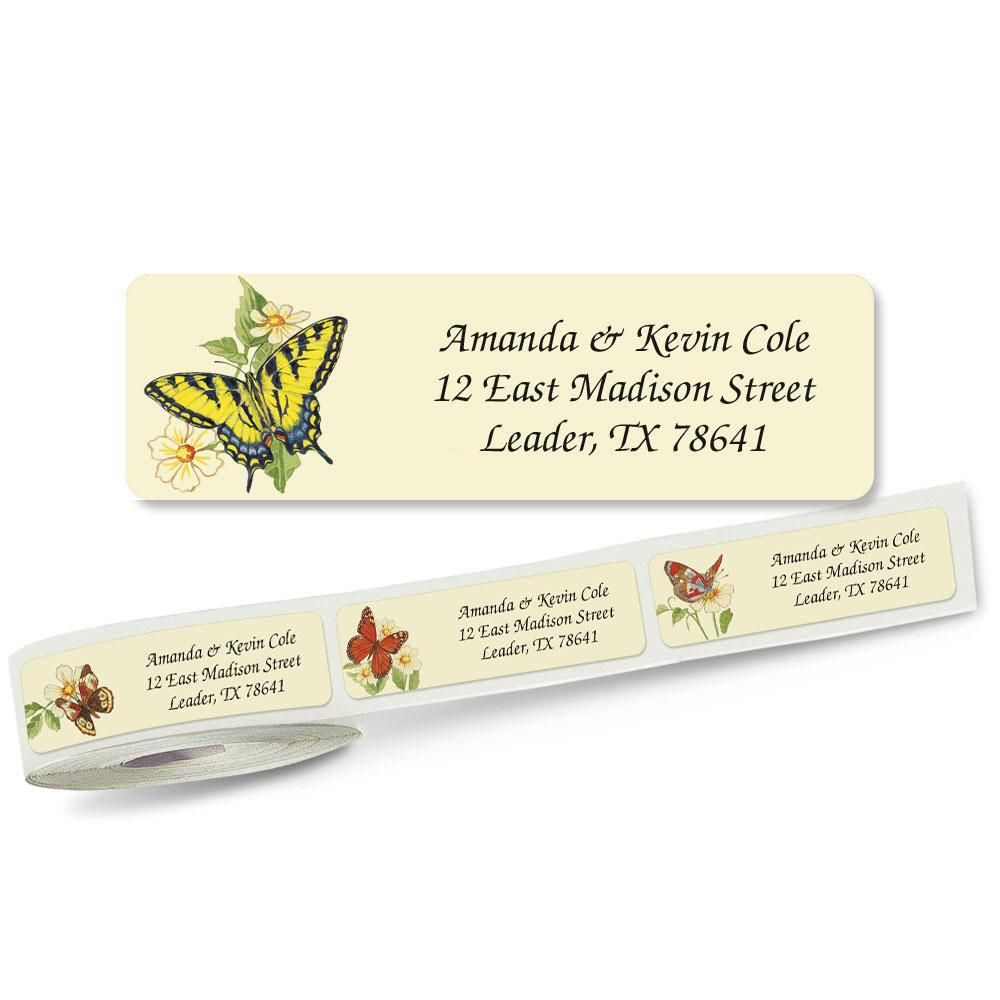Butterflies  Designer Rolled Address Labels  (5 designs)