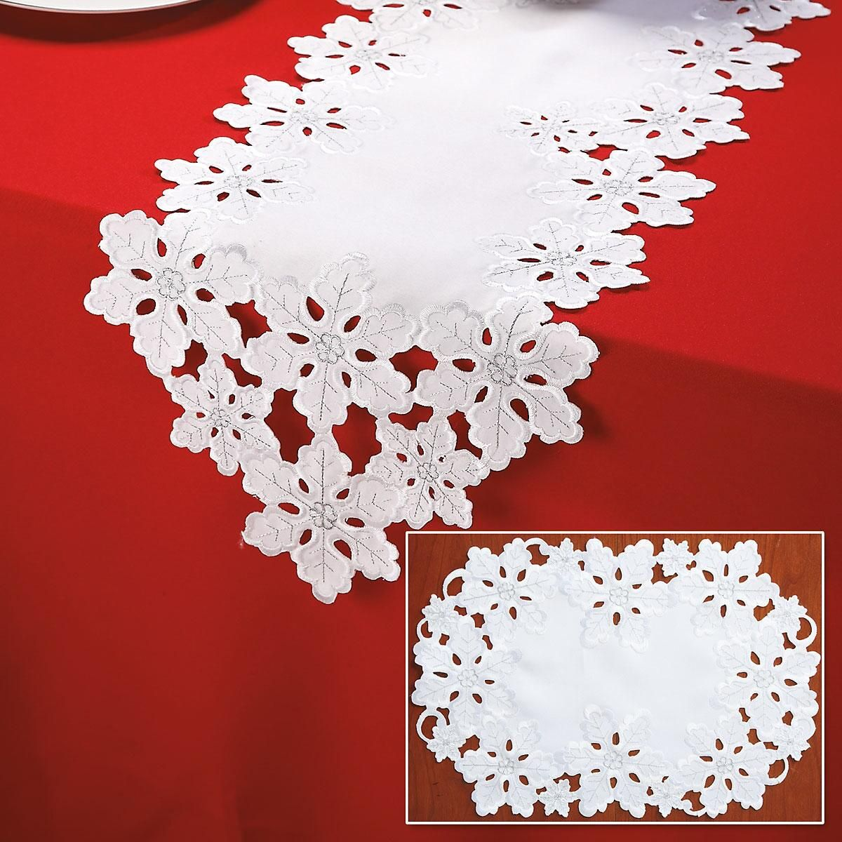 White Snowflake Table Runner & Place Mats
