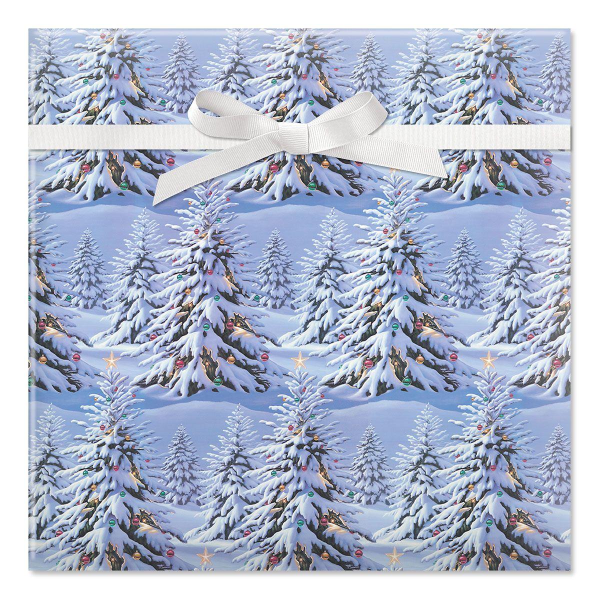 Snowy Tree Jumbo Rolled Gift Wrap