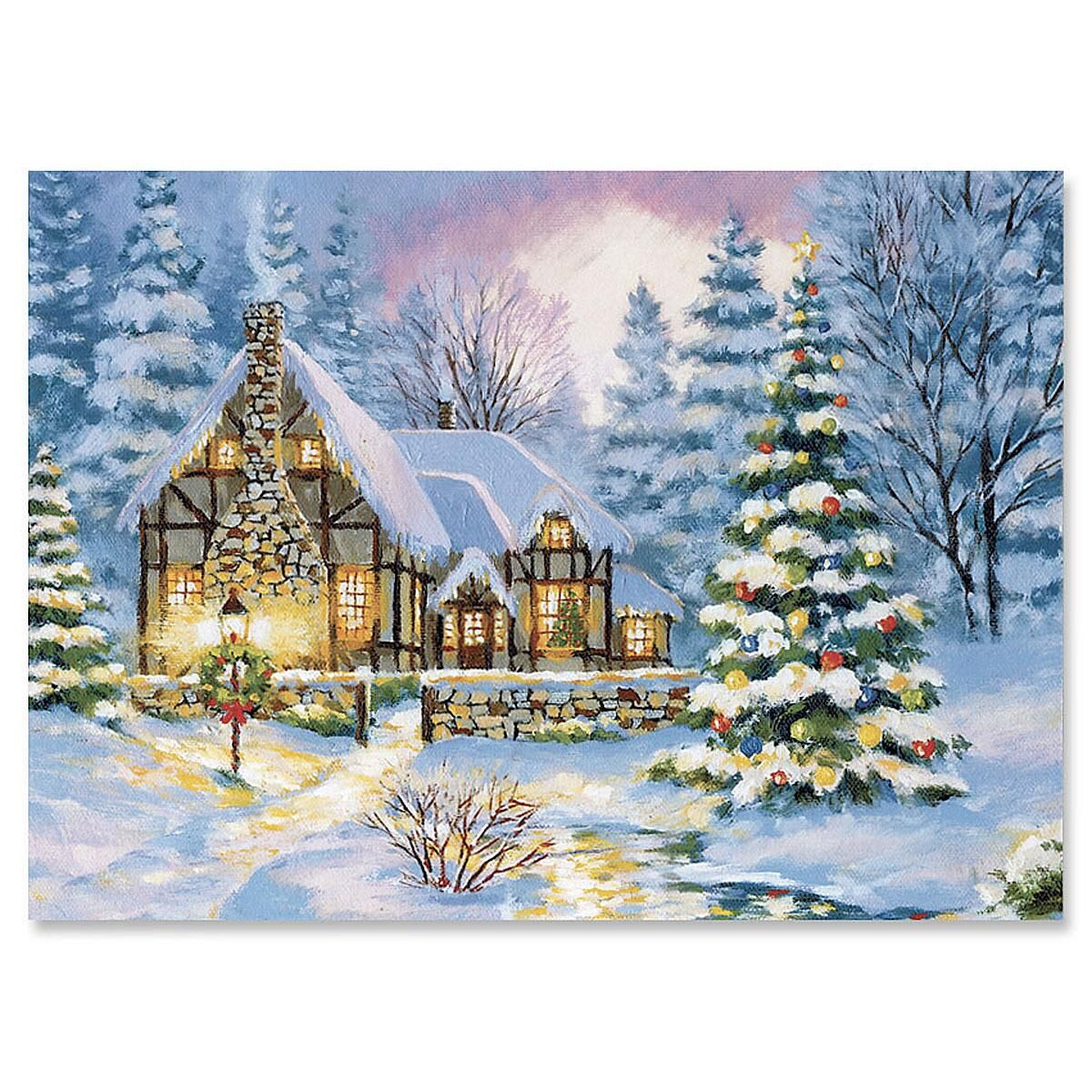 Winter Cottage Nonpersonalized Christmas Cards - Set of 72
