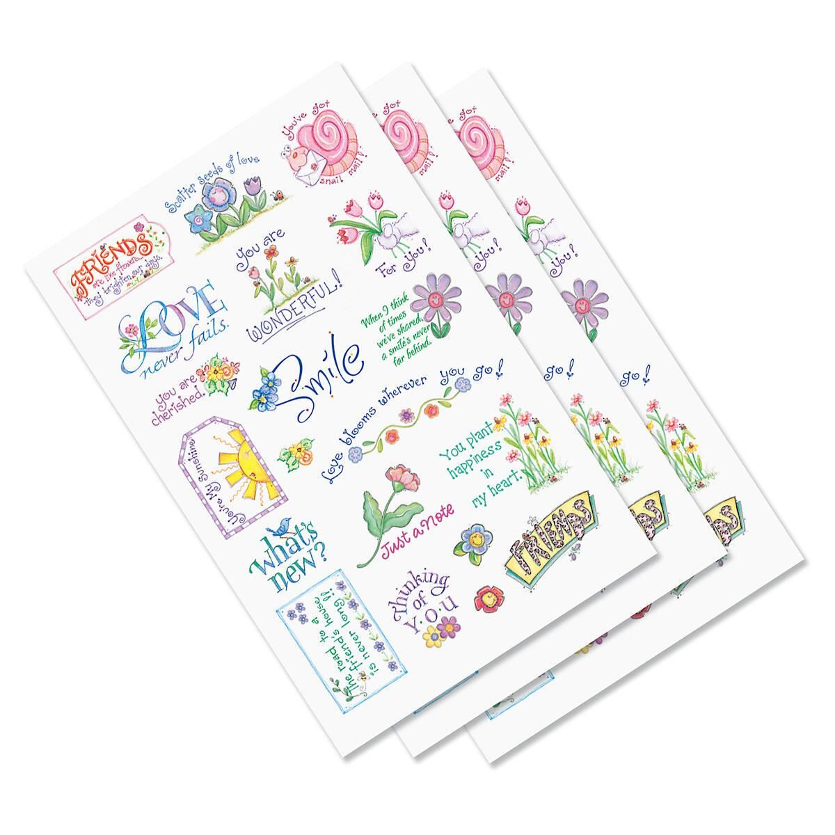 Clear Flower Word Stickers