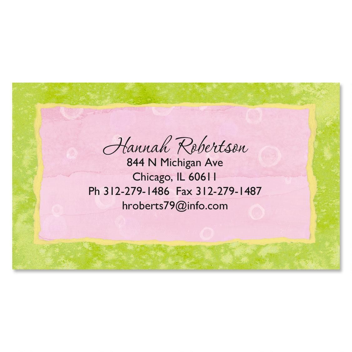 Pink and green business cards current catalog for Sustainable business cards
