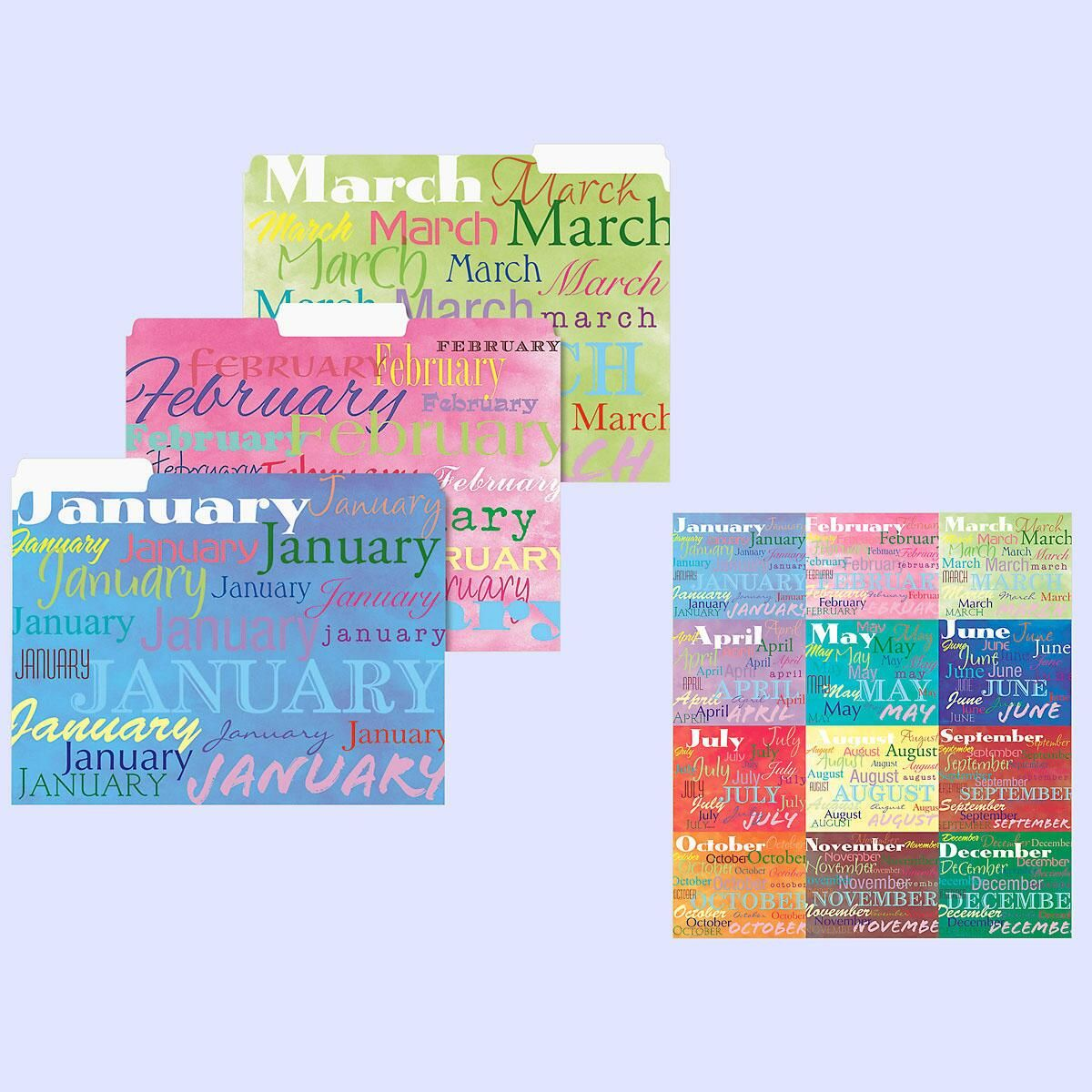 12-Month File Folders  (12 Designs)