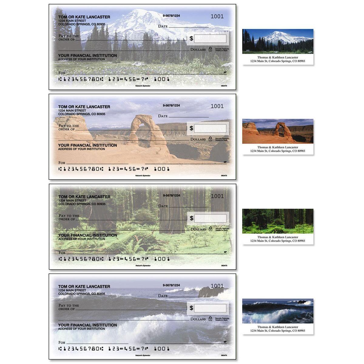 Nature's Splendor Single Checks with Matching Address Labels