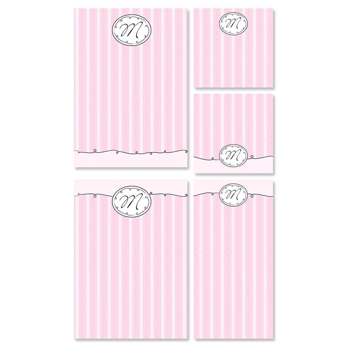 Pink Sophisticates Initial Notepad Set