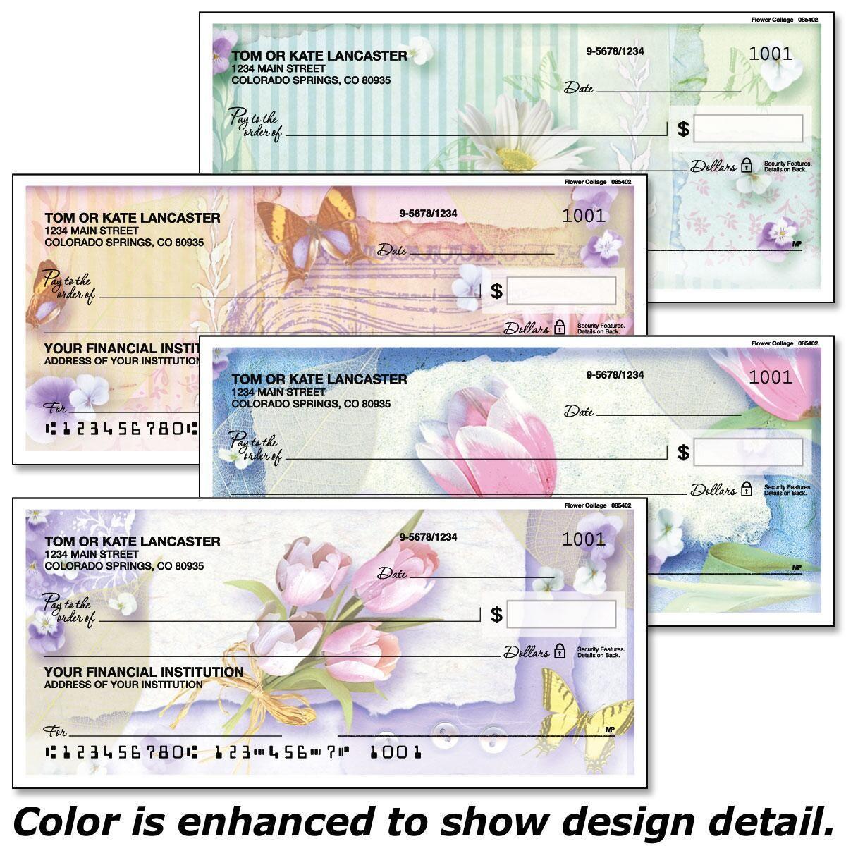 Floral Collage Duplicate Checks