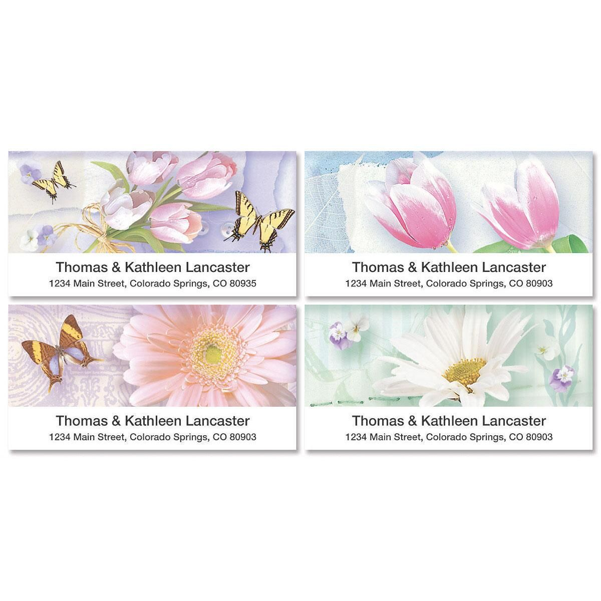 Floral Collage Deluxe Address Labels  (4 designs)