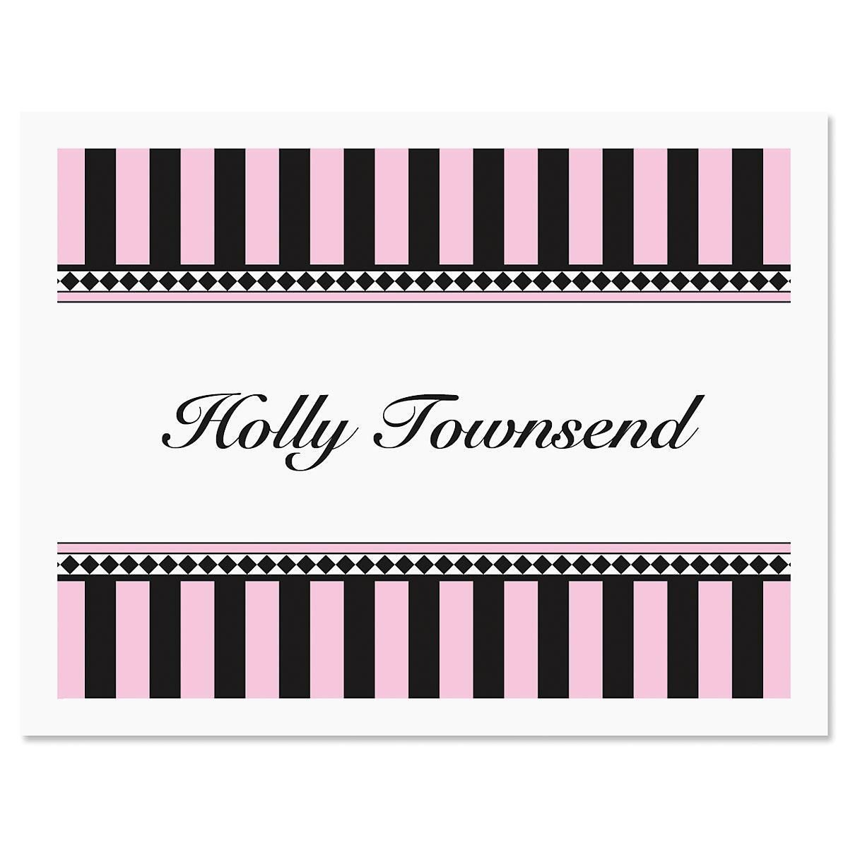 Pink & Black Personalized Note Cards