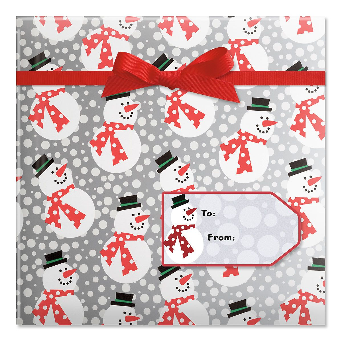 Silver and Red Snowmen Jumbo Rolled Gift Wrap