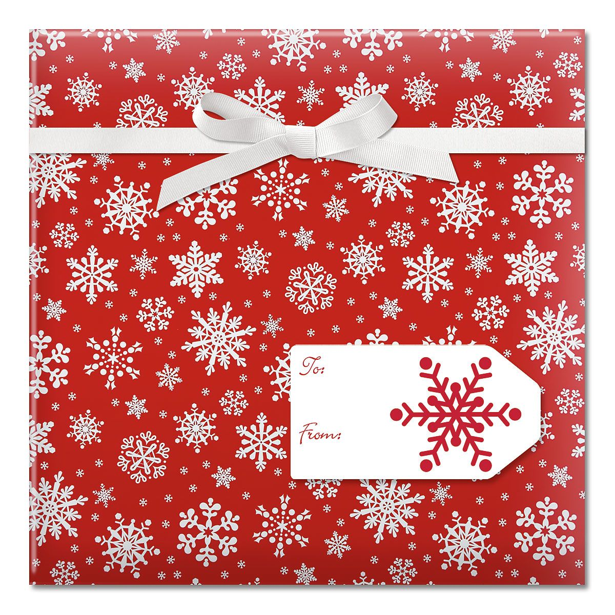 Snowflake on Red Jumbo Rolled Gift Wrap