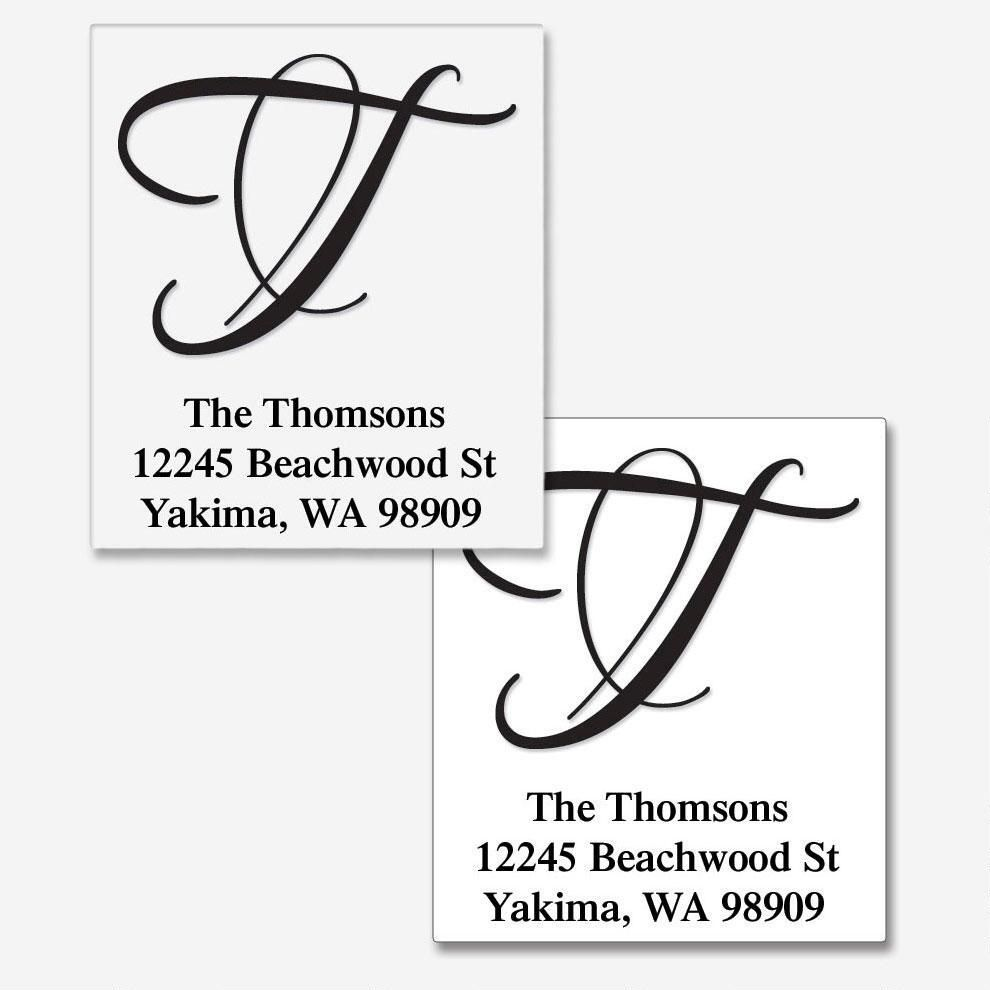 Brush Initial Traditional Address Labels