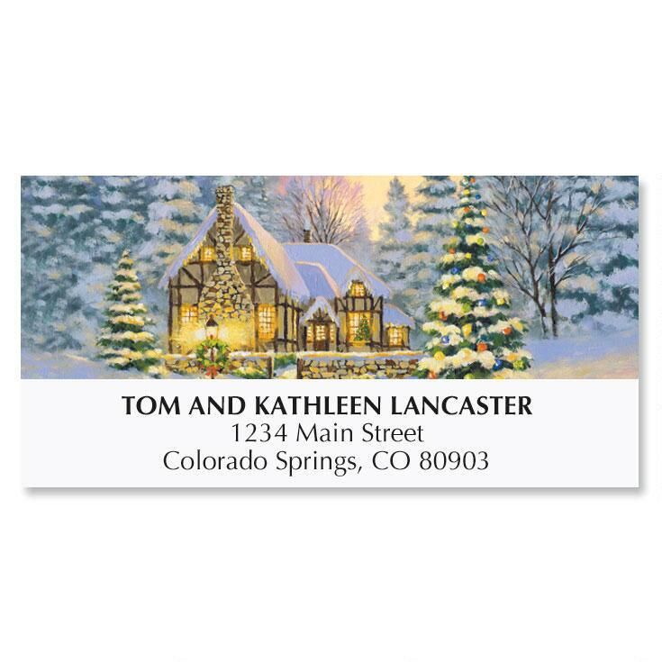 Winter Cottage Christmas Address Labels