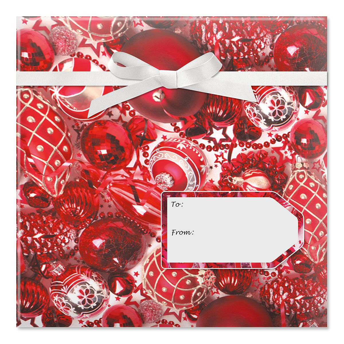 Ruby Ornaments Jumbo Rolled Gift Wrap and Labels