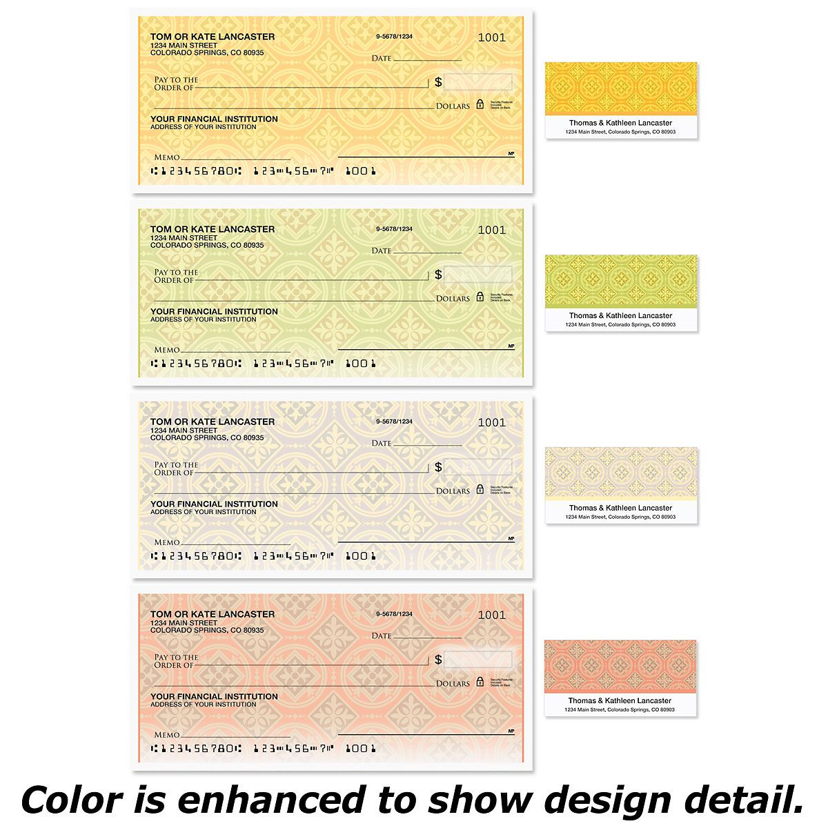 Italian Tile Single Checks with Matching Address Labels