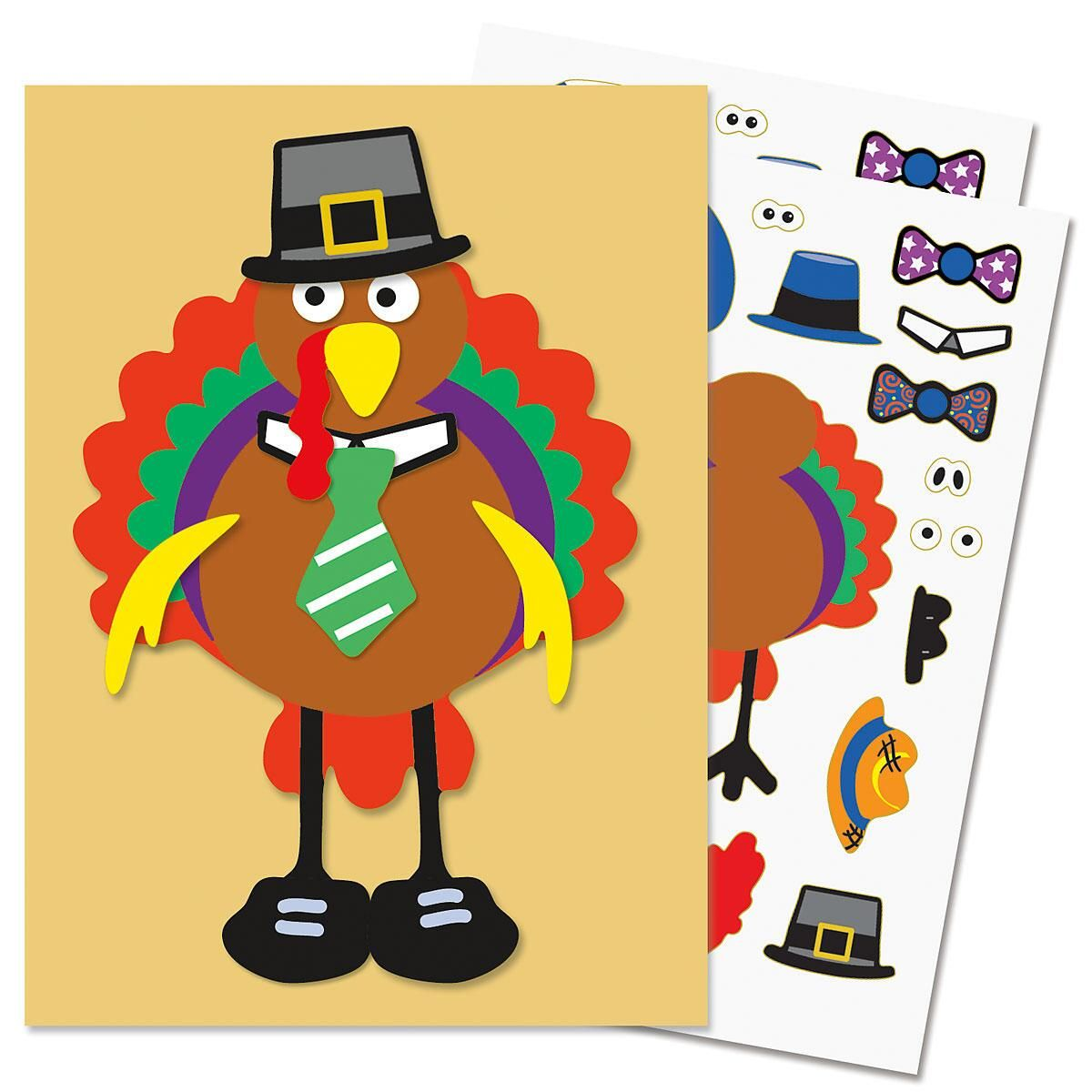 Make-A-Turkey Sticker Sheets
