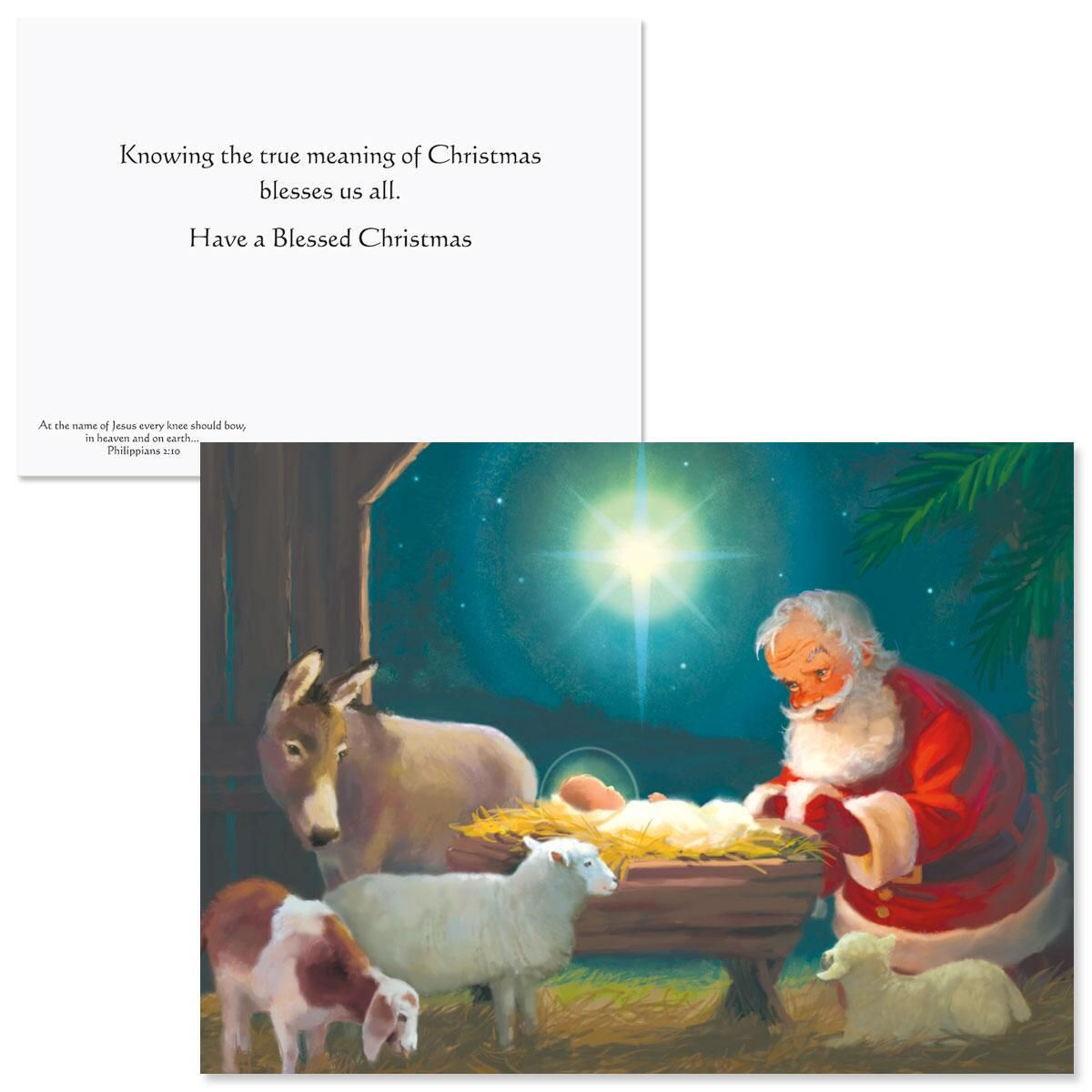 Kneeling Santa Nonpersonalized Christmas Cards - Set of 18