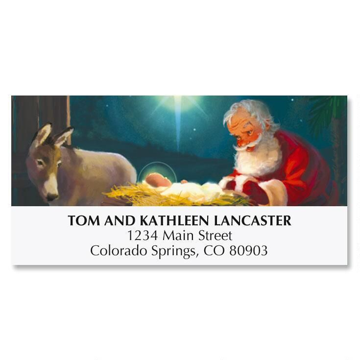 Kneeling Santa Deluxe Address Labels