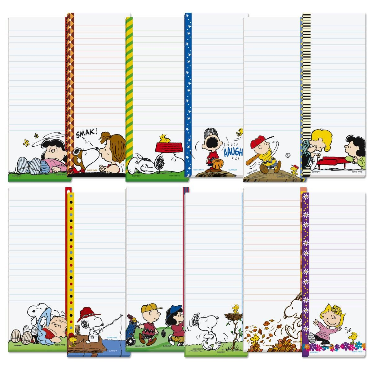 PEANUTS Magnetic Shopping List Pads Go shopping with everyone's best-loved pup! Magnet-backed, 30-sheet pads give you a different theme for every month of the year! 2 1/2  x 6 1/4  each. Set of 12; 1 of each design 2011 Peanuts Worldwide LLC