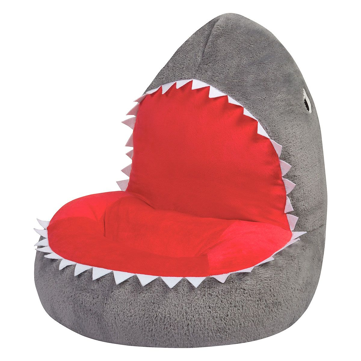 Shark Children's Plush Chair The Shark Plush Character Chair brings delightful whimsy to your little one's world and to any room of the house. Perfect for reading, relaxing, snuggling. Soft outer surface is ideal for cuddling and hugging. Measures 21  x 19  x 19  with contoured support. 100% polyester plush with 100% polyester fill. Spot clean only; use a damp cloth. Suitable for most children ages 12 months and up. Standard shipping only. Expedited shipping not available. Cannot be sent outside the 48 contiguous states, or to P.O. Box, APO/FPO, or foreign addresses.