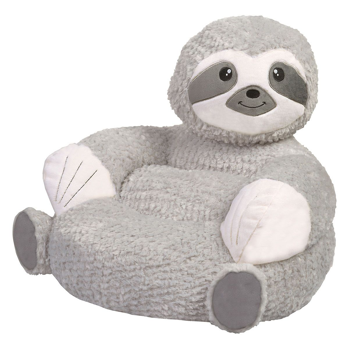 Sloth Children's Plush Chair The Sloth Plush Character Chair brings delightful whimsy to your little one's world and to any room of the house. Perfect for reading, relaxing, snuggling. Soft outer surface is ideal for cuddling and hugging. Measures 21  x 19  x 19  with contoured support. 100% polyester plush with 100% polyester fill. Spot clean only; use a damp cloth. Suitable for most children ages 12 months and up. Standard shipping only. Expedited shipping not available. Cannot be sent outside the 48 contiguous states, or to P.O. Box, APO/FPO, or foreign addresses.