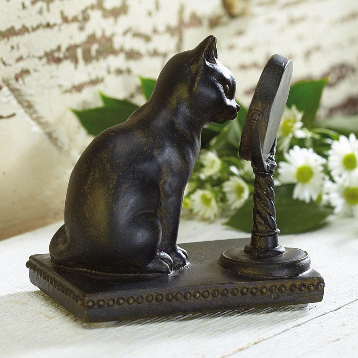 Cat with Mirror Figurine