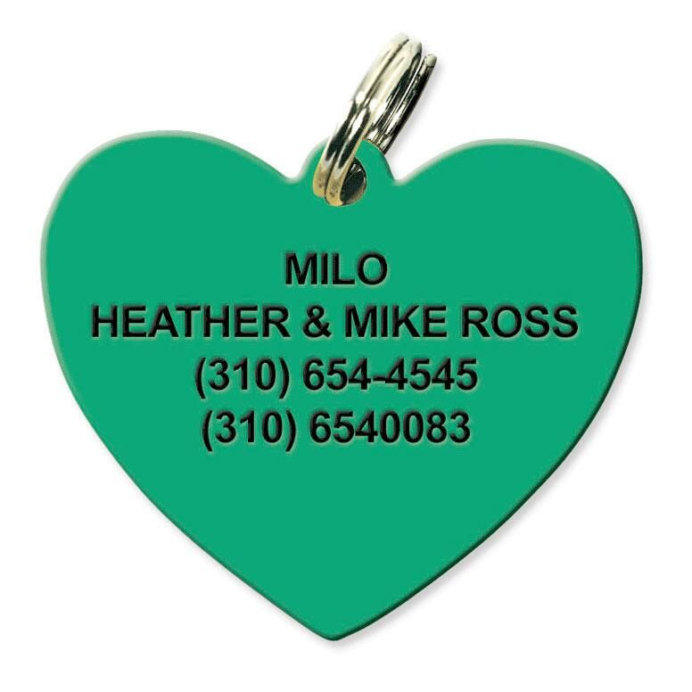 Personalized Plastic Heart Pet Tag