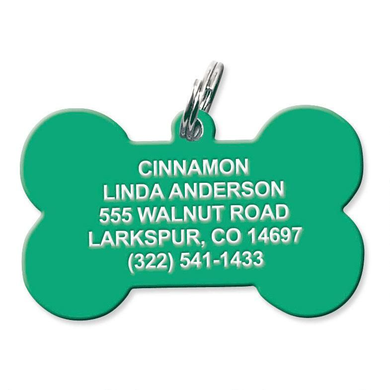 Personalized Plastic Dog Bone Pet Tag