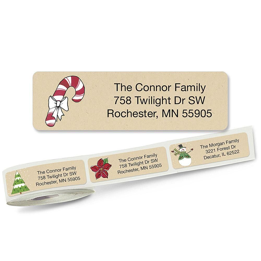 Krafty Christmas Rolled Address Labels  (5 Designs)