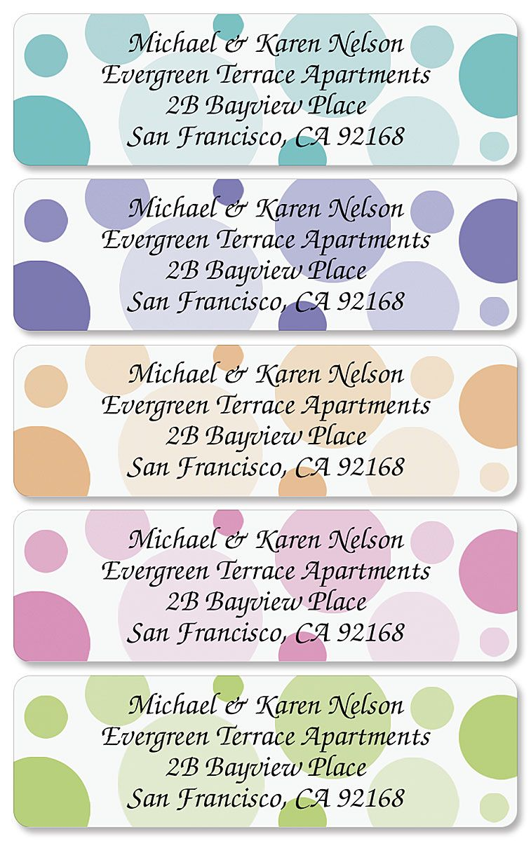 Polka Dots Designer Rolled Address Labels  (5 designs)