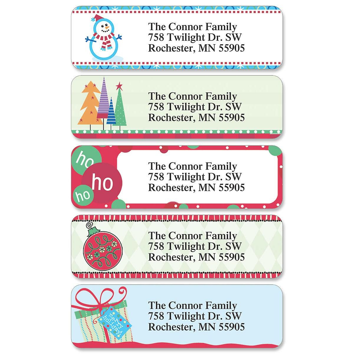 Christmas Designer Rolled Address Labels  (5 designs)