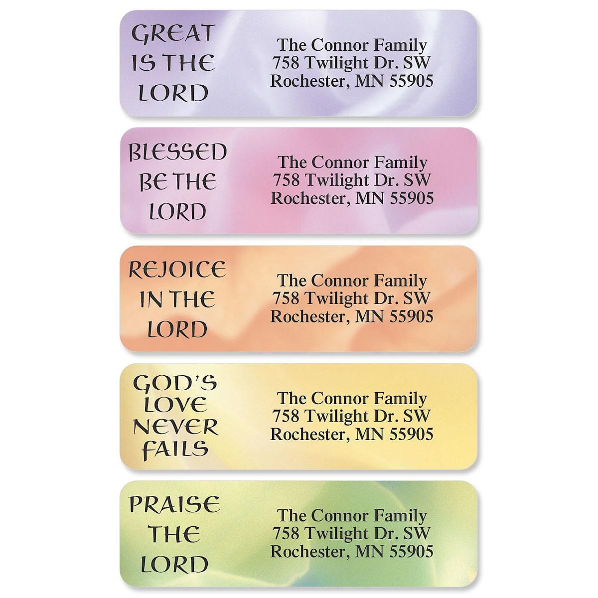 Praises Designer Rolled Address Labels  (5 Designs)