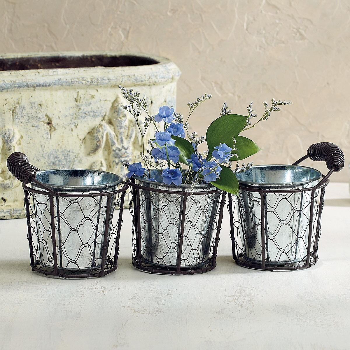 Triple Round Mesh Basket with Handles