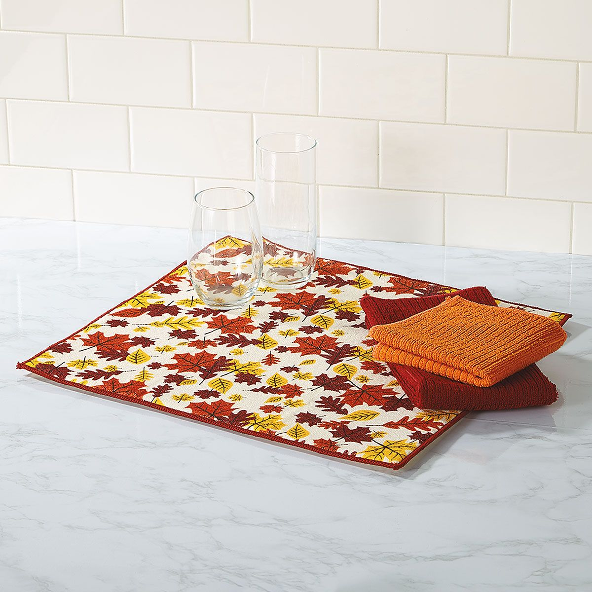 Leaves Drying Mat/Towel/Dishcloth Set