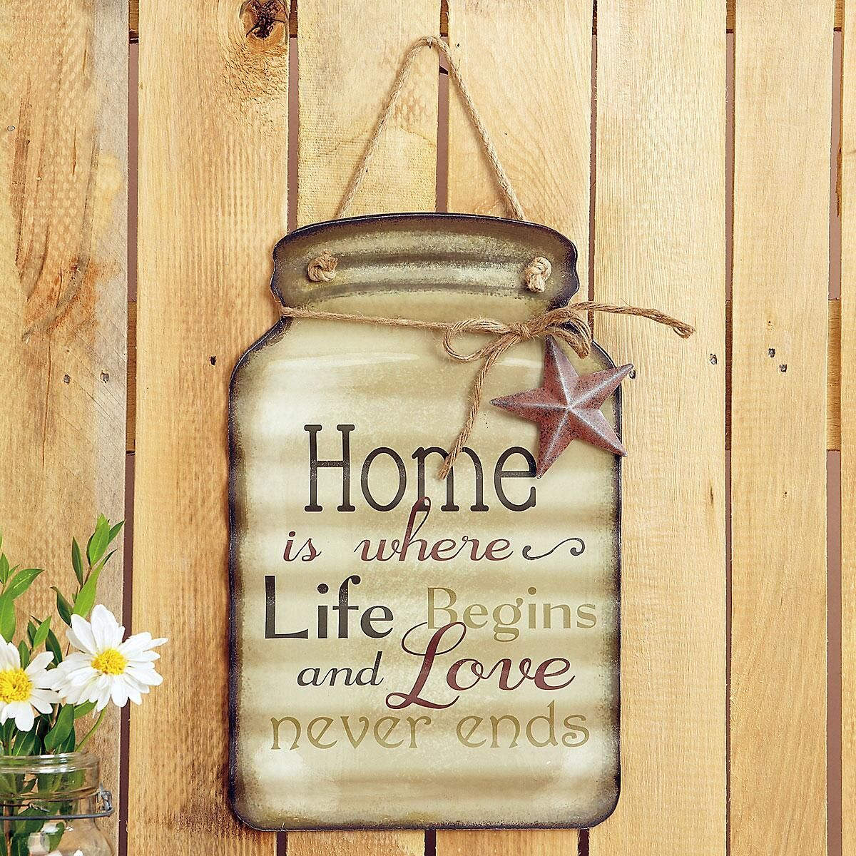 Home Tin Mason Jar Wall Sign | Current Catalog