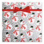 Silver and Red Snowmen Holiday Gift Wrap