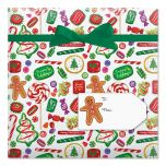 Christmas Candy Jumbo Rolled Gift Wrap and Labels